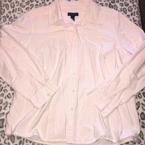 *️⃣Karen Scott | Pink&White Striped ButtonUp Shirt